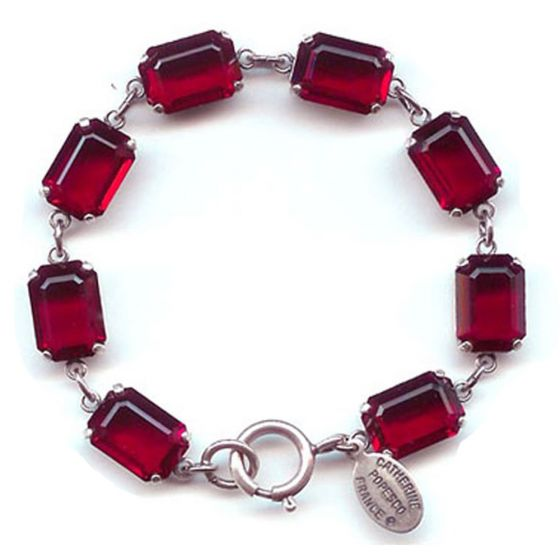 Catherine Popesco Pillow Cut Crystal Bracelet - Red and Silver