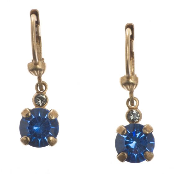 Catherine Popesco Petite Stone 6mm Round Dangle Earrings - Sapphire