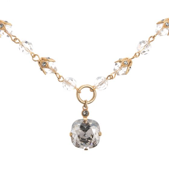 Catherine Popesco Necklace - Beaded Chain and Shade Crystal Drop
