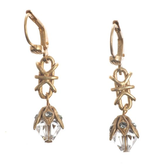 Catherine Popesco Capped Bead Crystal Drop Earrings