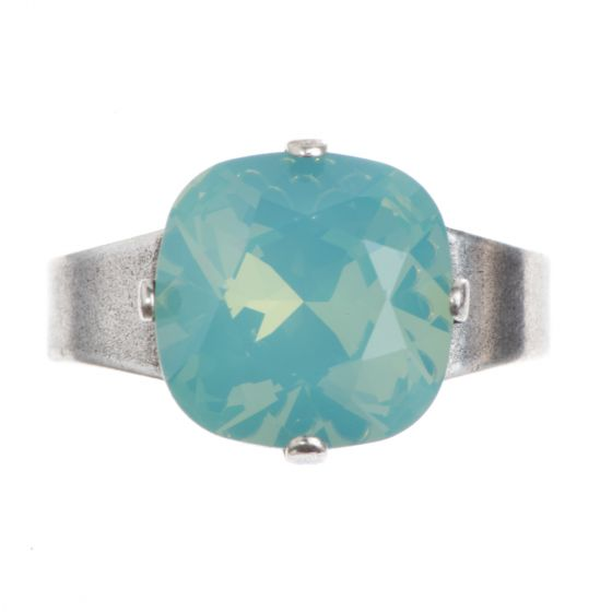 YPMCO Silver And Pacific Opal Swarovski Crystal Ring