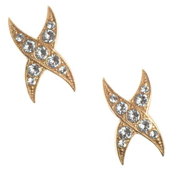 Catherine Popesco Rhinestone X Studs Gold Crystal Post Earrings