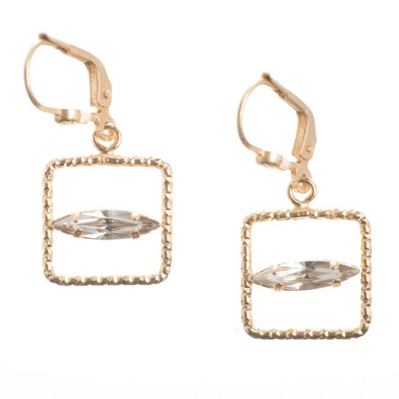 Catherine Popesco Small Gold Square Hoop Earrings with Marquise Crystals