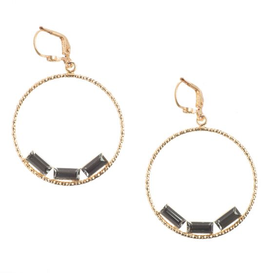 Catherine Popesco Round Hoop Earrings with Triple Baguette Crystals