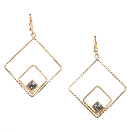 Catherine Popesco Gold Double Squares Earrings with Black Diamond Crystals