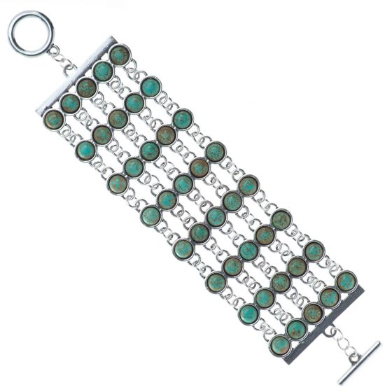 Sweet Lola Bracelet - Wide 8 Row Green Turquoise and Silver