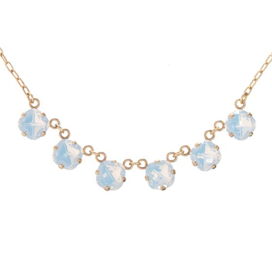 New! Catherine Popesco Petite Six Stone Crystal Necklace