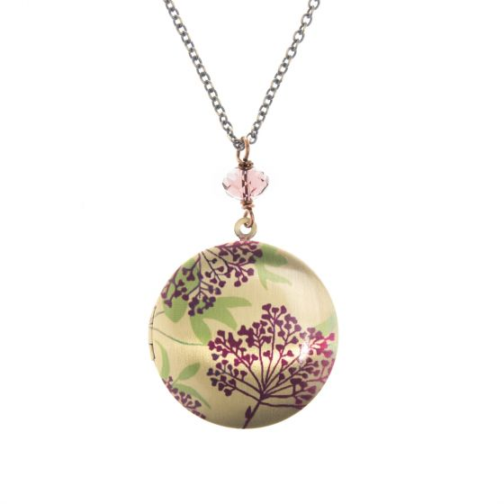 Edgy Petal Lilac Flowers with Crystal Locket Necklace - Long or Short