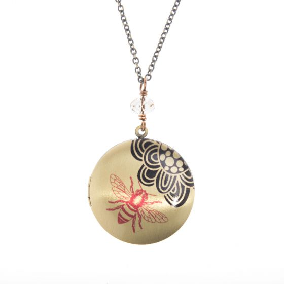Edgy Petal Bee and Flower with Crystal Locket Pendant Necklace