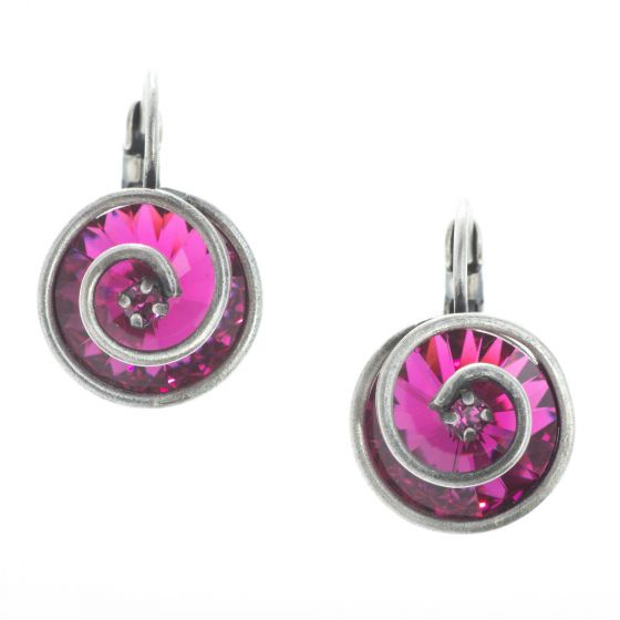 Konplott Jewelry - Classic Twist Eurowire Earrings - Dark Rose Fuchsia Crystal