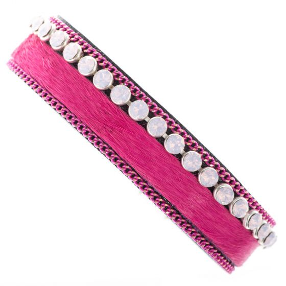 Sweet Lola Bracelet - Hot Pink Cowhide with Pink Stones