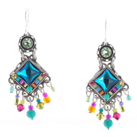 Firefly Bright Mini Chandelier Multi Color Austrian Crystal Earrings