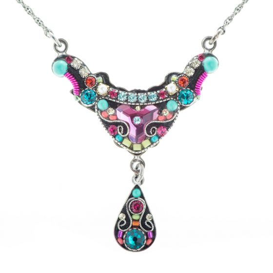 Firefly Elaborate Organic Necklace with Multi Color Austrian Crystals and Czech Beads