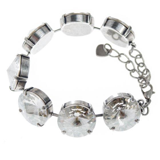 YPMCO Chunky 18mm Swarovski Crystal Silver Shade Bracelet
