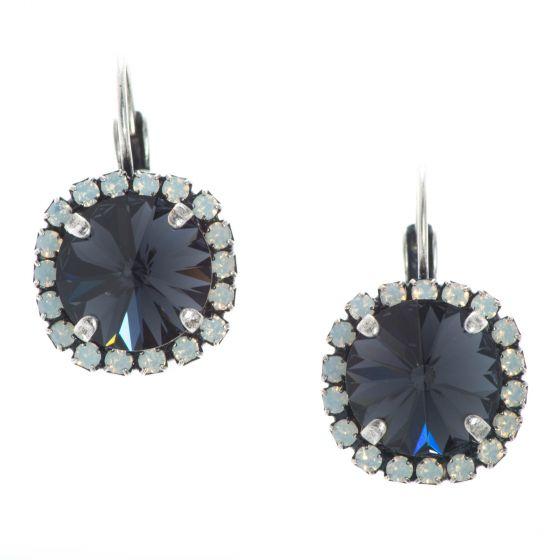 YPMCO 12mm Black And White Swarovski Crystal Earrings - Elegant