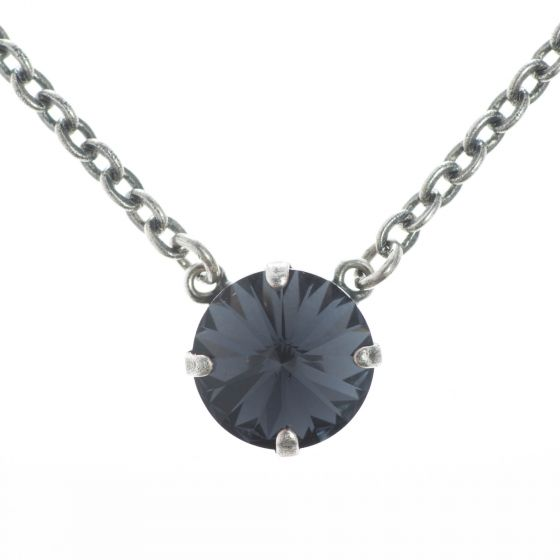 YPMCO 12mm Black Graphite Crystal Necklace - Simple and Elegant