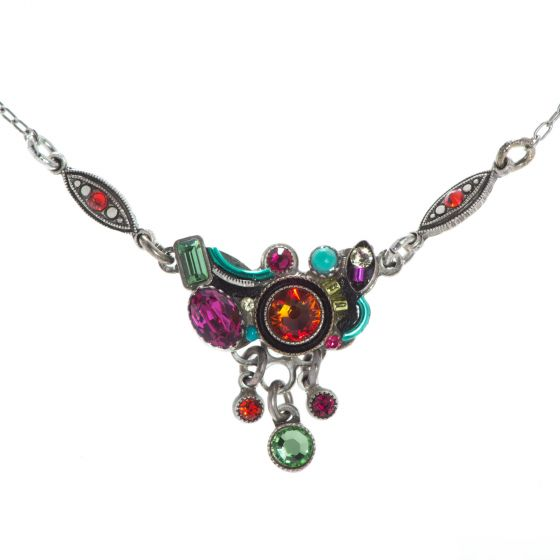 Firefly Calypso Rondel Drops Necklace with Multi Color Austrian Crystals and Czech Beads