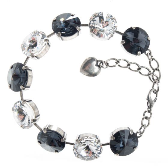 YPMCO 14mm Black and White Combo Swarovski Crystal Bracelet