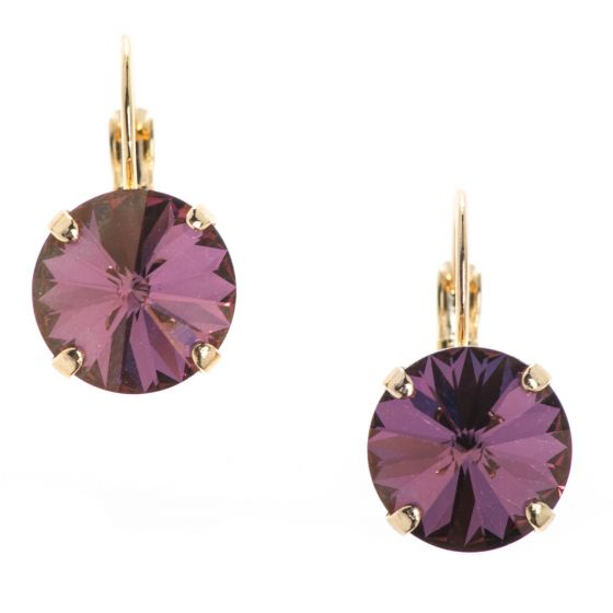 YPMCO 12mm Lilac Shadow Swarovski Crystal Earrings - New Color