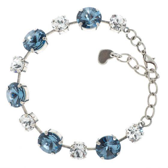 YPMCO Denim Blue & Clear Swarovski Crystal Combo Bracelet