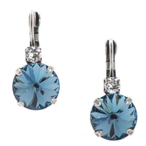 YPMCO Denim Blue and Clear Swarovski Crystal Combo Earrings