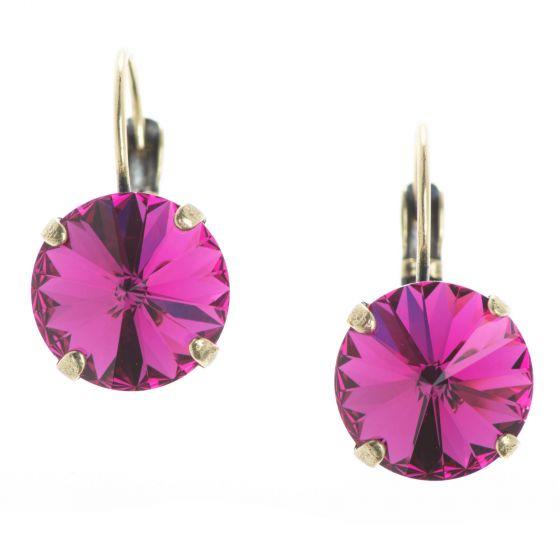 YPMCO 12mm Fuchsia Pink Rivoli Swarovski Crystal Earrings
