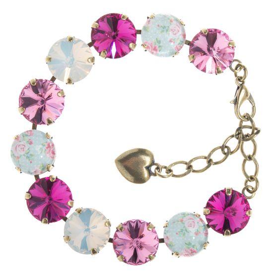 YPMCO 12mm - Fuchsia Rose Pink Vintage Chic Combo Crystal Bracelet