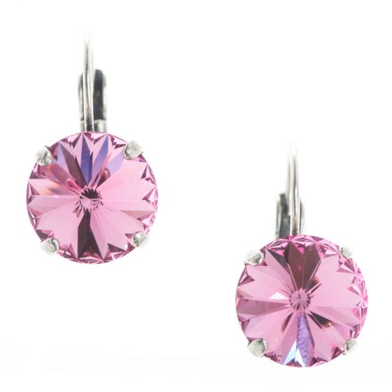 YPMCO 12mm Rose Pink Rivoli Swarovski Crystal Earrings