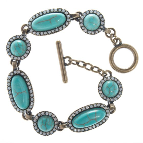 Sweet Lola Bracelet - Oval & Round Turquoise Stones w/ White Opal Crystals