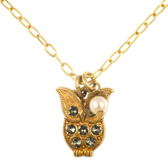 La Vie Parisienne Owl Necklace with Pearl