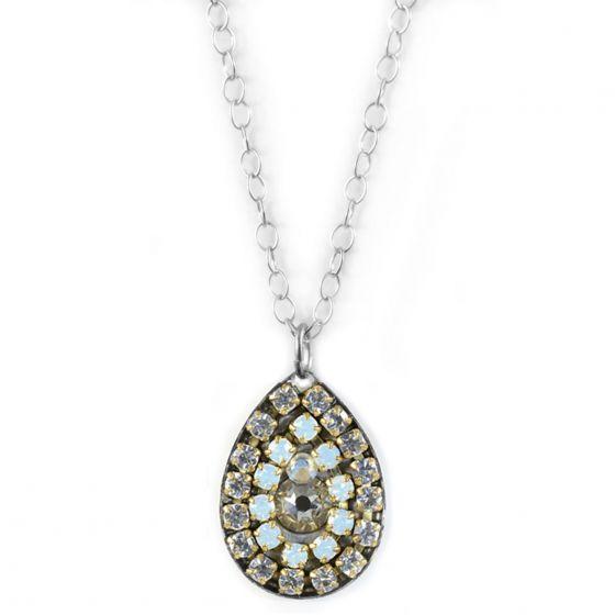 Clara Beau Classy Silver White Opal Crystal Mosaic Teardrop Necklace