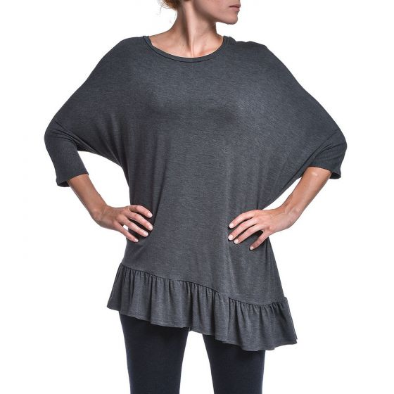 Black or Charcoal Diagonal Ruffle Batwing Top by Accent Accessories