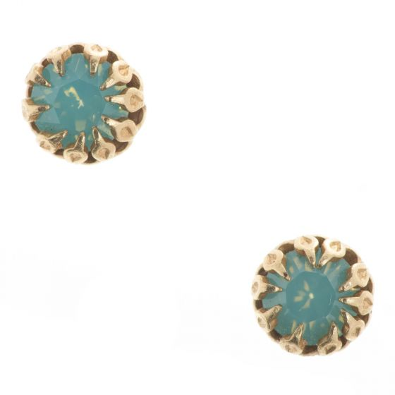 Catherine Popesco Tiny Encased Pacific Opal Crystal Studs/Post Earrings