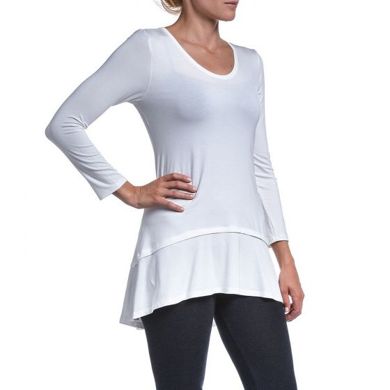 Ivory Long Sleeve High-Low Swing Top by Accent