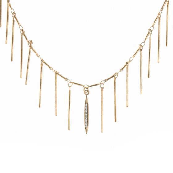 Catherine Popesco Gold Fringe Necklace with Tiny Crystals