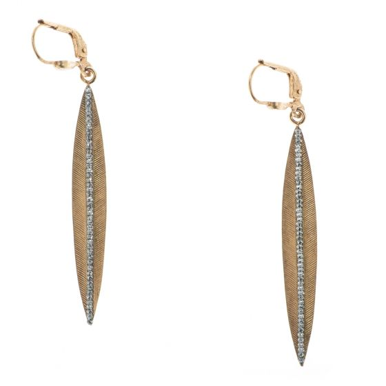 Catherine Popesco Stone Channel Spear Earrings with Tiny Crystals