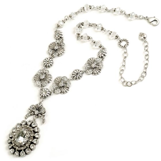 Sweet Romance Katarina Crystal Necklace - Silver & Clear
