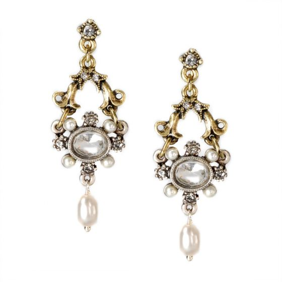 Sweet Romance French Crystal & Pearl Lorraine Earrings - Bronze & Silver