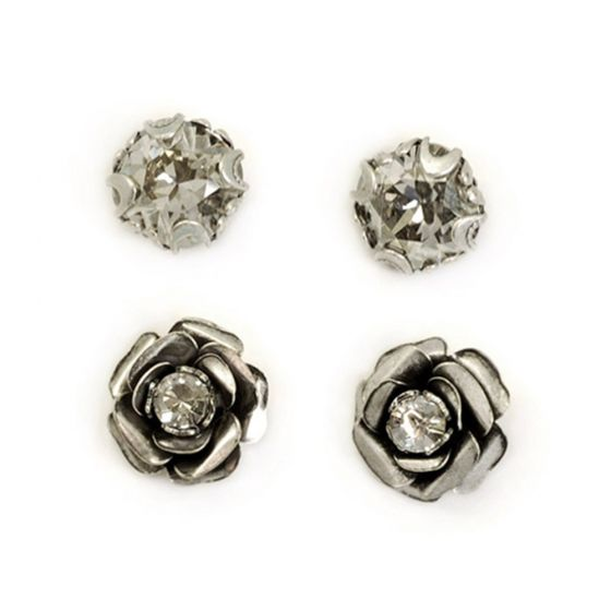 Sweet Romance Crystal Cushion & Roses Silver Post Earrings - Set of 2 Pairs