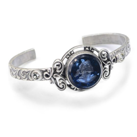 Sweet Romance Alycia Intaglio Cuff Bracelet - Silver & Deep Blue