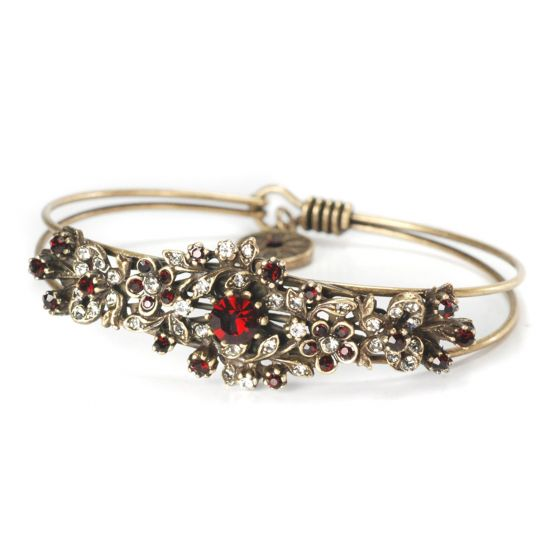 Sweet Romance Victorian Tapestry Garden Bangle Bracelet - Gold & Red