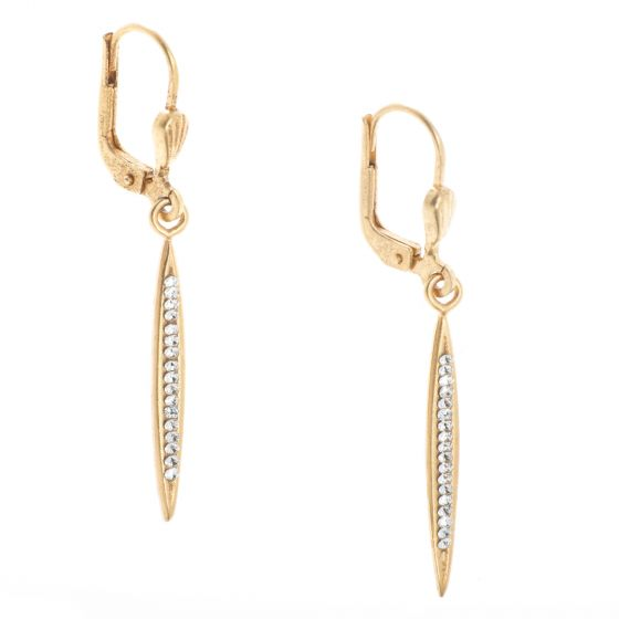Catherine Popesco Small Spear Stone Channel Gold Earrings with Tiny Crystals