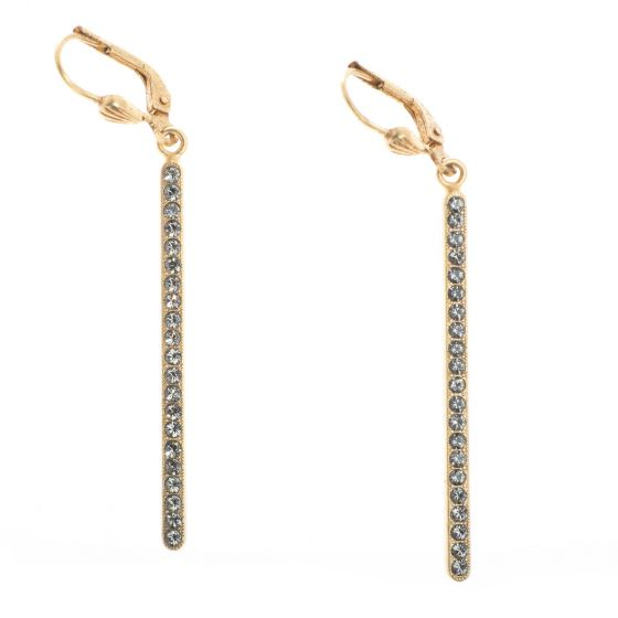 Catherine Popesco Gold Long Crystal Stone Bar Dangle Earrings