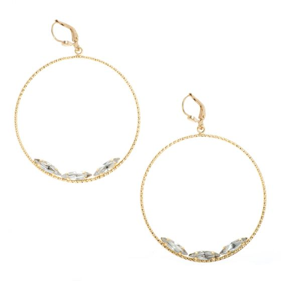 Catherine Popesco Round Hoop Earrings with Triple Marquise Crystals