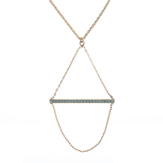 Catherine Popesco Gold Crystal Stone Bar Necklace with Chain