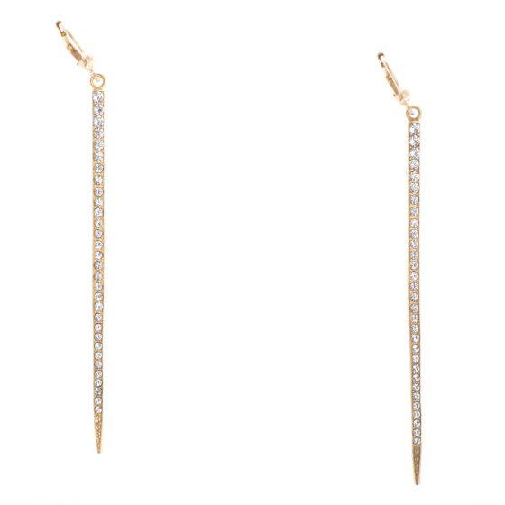 Catherine Popesco Gold Ex-Long Crystal Stone Bar Dangle Earrings