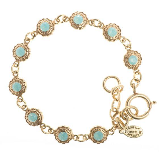 Catherine Popesco Gold Crystal Flower Bracelet - Pacific Opal or Black Dia.