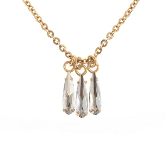 Catherine Popesco Dainty Triple Raindrop Crystal Necklace - Shade & Gold