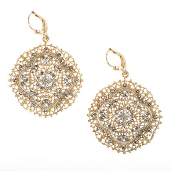 Catherine Popesco French Enamel Crystal Filigree Lotus Earrings