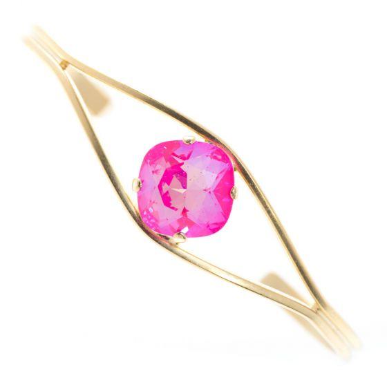 Clara Beau Elegant Fancy 12mm Square Ultra Pink Crystal Cuff Bracelet